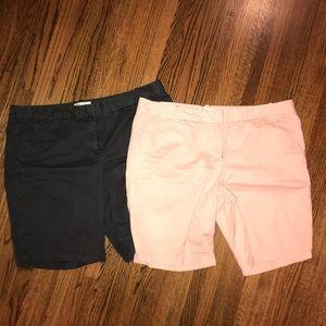 Lot of 2 j.crew Bermuda shorts, blush dark taupe